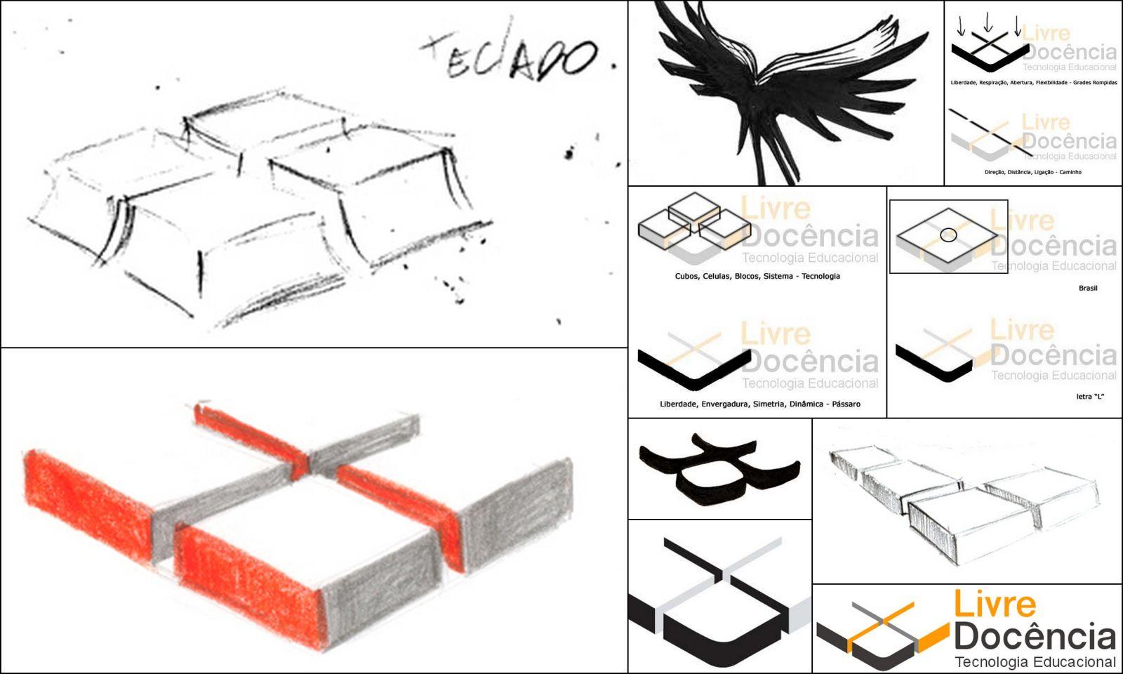 Livre Docência Tecnologia Educacional - concepção da logo. Design por Delcio Gomes.