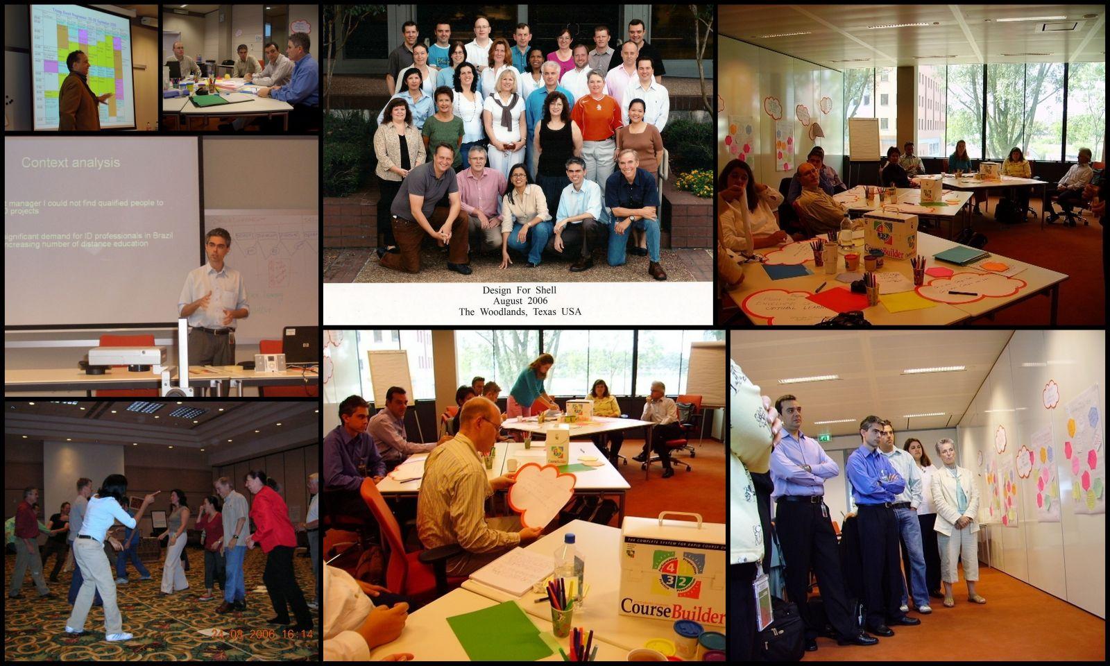 Reuniões da equipe de design educacional da Shell. Haia 2005 e Houston 2006.