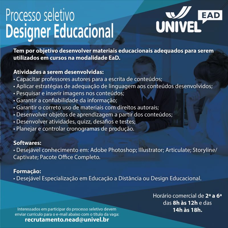 Vaga Para Designer Educacional - Cascavel - Paraná