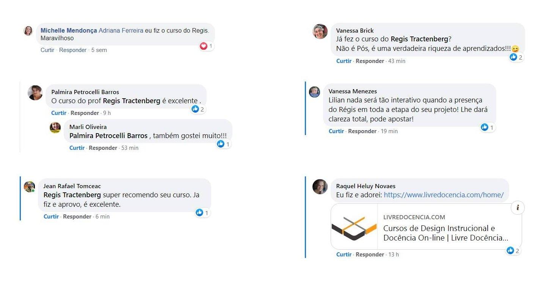 Depoimentos e recomentacoes no grupo design instrucional do FB